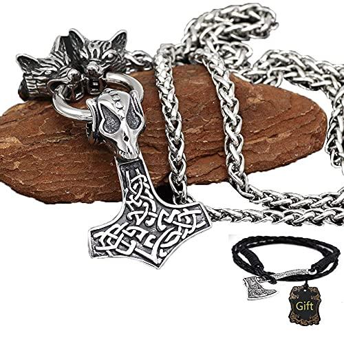 Feeyond NóRdico TalismáN Martillo De Thor Mjolnir Collar, Hombres Vikingo Fenri Cabeza Lobo Colgante, Escandinavo Rey Cadena,60cm/24inch