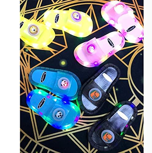 Zapatillas De Casa para Mujer Cerradas,Zapatillas Luminosas Coloridas, Verano para Padres Y NiñOs Led Soft-Soled Led Parpadeantes Y Zapatillas, Hijas-I 28/29 (170mm /