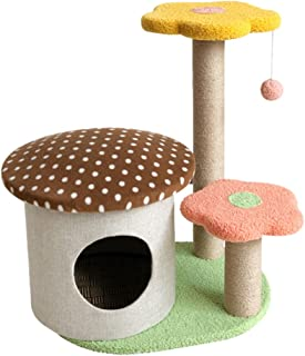 Mushroom Cat Scratching Post with Artificial Grass, Sisal Rope Material, Durable and Solid, 30x35cm (Cat Tree Brown)