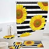 RORA Duschvorhang-Set mit Sonnenblumen-Motiv, rutschfeste Badematte, WC-Deckelbezug, U-Form, Bodenmatte, gelbe helle Sonne, Blumenmuster auf gestreiftem Schwarz-Weiß, 4 Stück