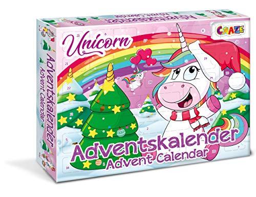 CRAZE 24706 Adventskalender Unicorn Einhorn Weihnachtskalender für Mädchen Jungen Spielzeugkalender, kreative Inhalte, Tolle Überraschungen