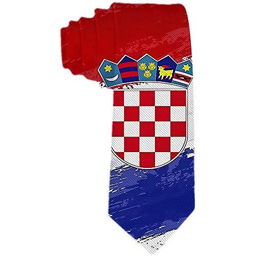 Herren Krawatte Kroatien Flagge Rot Blau Weiß Polyester Seidenkrawatte