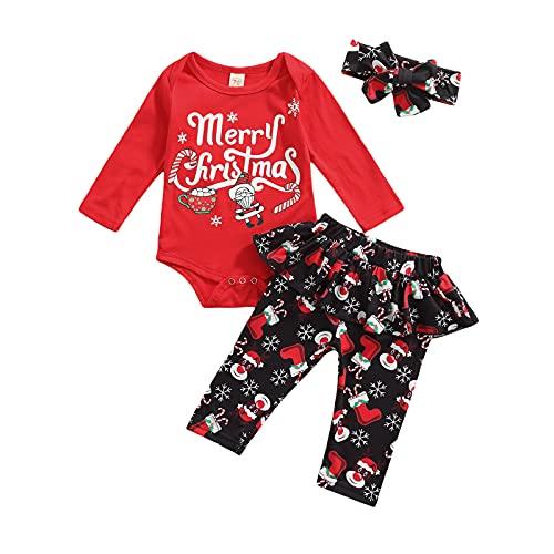 Conjunto de ropa casual para niñas recién nacidas de manga larga+pantalones a cuadros+tocado con nudo de lazo, 3 piezas para bebés y niñas, Rojo-2, 6 mes