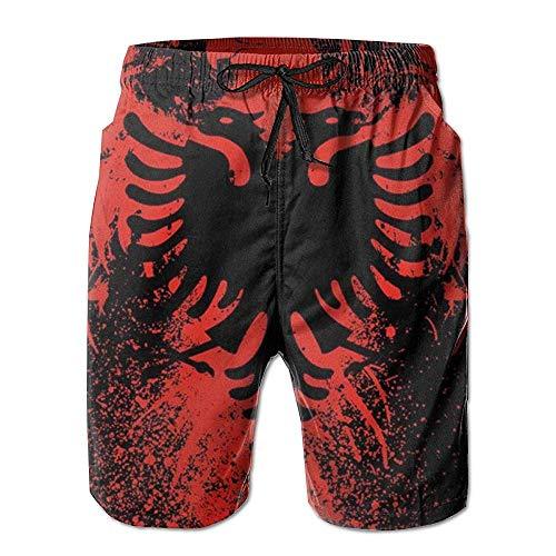 Hebb Herren Badehose mit Kordelzug, elastischer Taille, Rot mit Lichtstrahl XXL Albanische Flagge Adlervogel, Rot/Schwarz