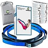 Ceddano Premium - Correa elástica para yoga con 12 trabillas acolchadas de neopreno para mayor comodidad y agarre. Camilla de entrenamiento revolucionaria (azul y negro)