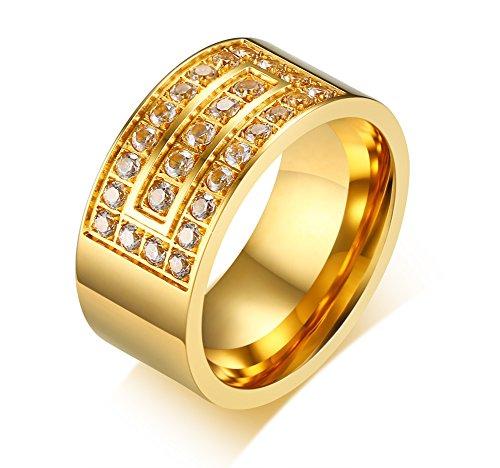 XUANPAI - Alianza de Boda para Hombre chapada en Oro de 18...