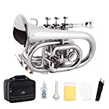 EastRock Pocket Trumpet Brass Bb Nickel Plated Trumpet with 7 C Mouthpiece, Hard Case, Strap, White Gloves, Cleaning Kit for Students and Beginners