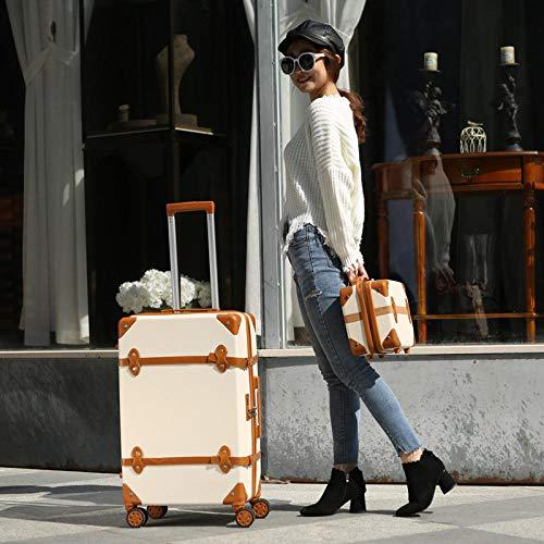 Rueda universal de equipaje 24 pulgadas pequeña caja de carro femenina fresca estudiante universitaria maleta retro caja de contraseña caja de embarque-Beige_20 pulgadas