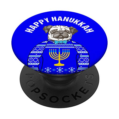 Hanukkah Pug Dog Wearing Ugly Hanukkah Sweater PopSockets Grip and Stand for Phones and Tablets