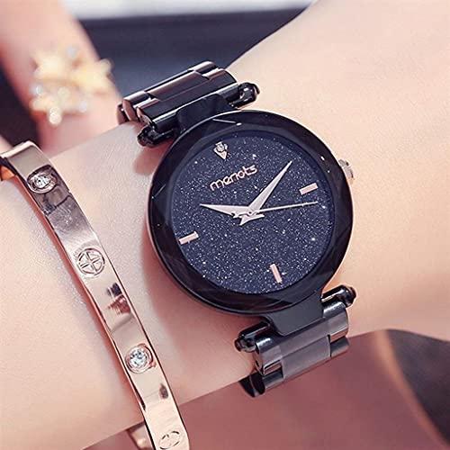 JYTFZD YANGHAO-Reloj de Pulsera- Simple Trend Girl Starry Casual Fashion Damas Cinturón de Acero Reloj de Moda Cuarzo Impermeable (Color: 4) OUZDNSSB-5 (Color : 2)