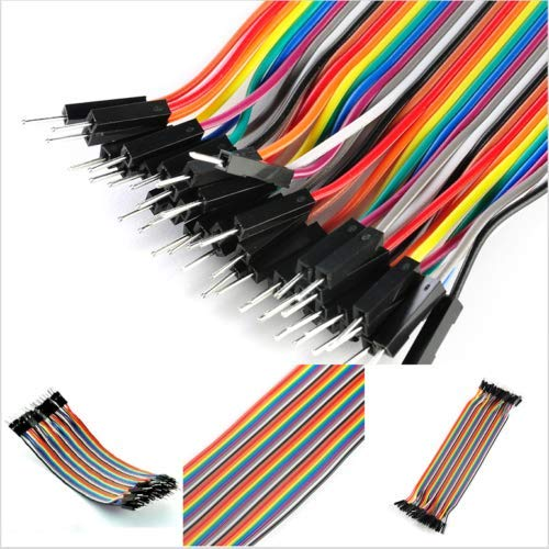 KuierShop(TM) 40pcs 20cm 2.54mm Male To Male Breadboard Jumper Wire Cable For Arduino Tools
