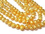 30 perlas cultivadas de agua dulce, 6 mm, color amarillo, grano de arroz, natural, barroco, piedras preciosas, perlas para enhebrar