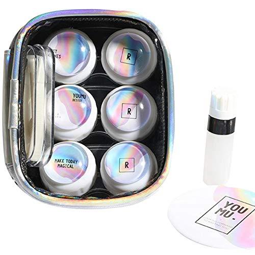 Drawihi Contact Lens Case (Double Box*3 Tweezers + Mirror + Small Bottle) Fashion Eye Catching Laser Bag Waterproof Cosmetic Bag Black