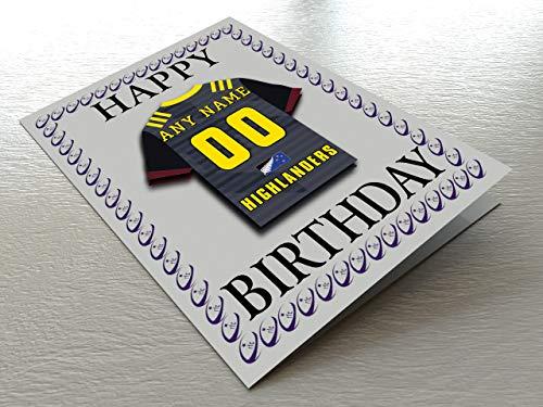 Super Rugby–Rugby Union Kühlschrank Magnet Geburtstag Karten–Jeder Name, beliebige, jedes Team., Dunedin Highlanders Super XV Rugby Fridge Magnet Card, A5 Fridge Magnet Greeting Card