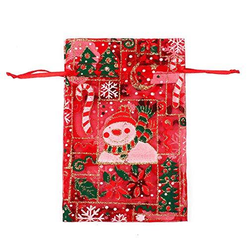 50 Uds., Bolsa de regalo de organza con cordón de Navidad, bolsas de regalo de chocolate con concha de caramelo para boda-06_10X15