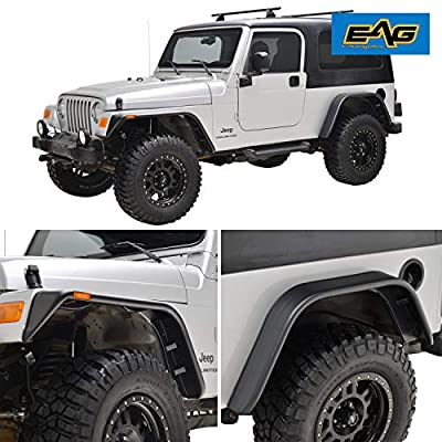 EAG Front and Rear Fender Flares with Side LED Lights Flat Style Fit for 97-06 Wrangler TJ