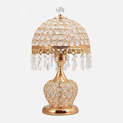 Lampe de table de chambre à coucher Lampe de chevet E27 Lumière moderne Simple décoration décorative lampe de table en cristal (sans source de lumière) ( Couleur : Or )