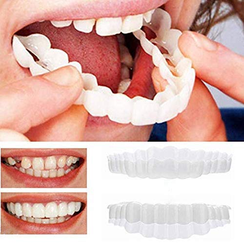 Cosmetic Teeth Veneer Denture Snap on Smile Instant and Confident in Minutes, Top and Bottom Temporary Fake Teeth for irregular, stained, missing and chapped teeth