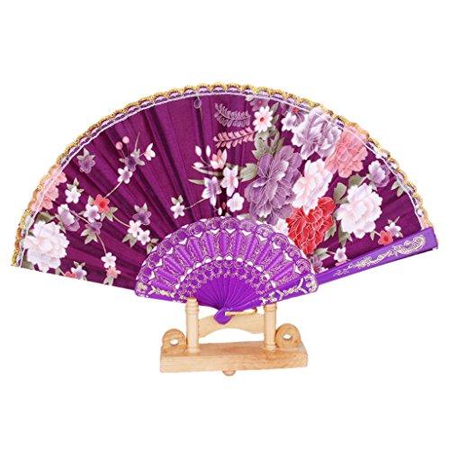 MagiDeal Spanish Floral Oriental Dance Party Wedding Folding Hand Fan Lace - Purple