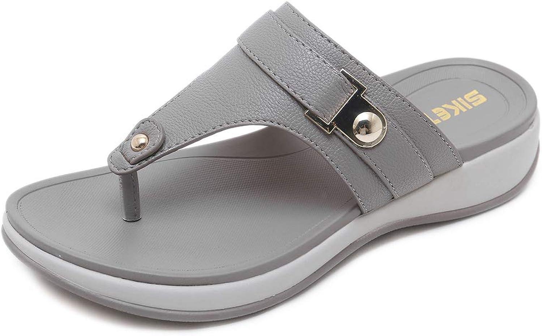 AGOWOO Thong Wedge Sandals for Women, Beach Outdoor Flip Flops Sandles