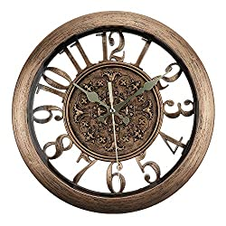 ufengke Copper Color European Vintage Wall Clock Silent Elegant Skeleton Quartz Clocks for Living Room Bedrooms Lounge, Diameter 11
