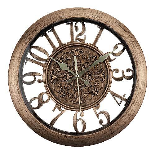 ufengke Reloj de Pared Vintage Europeo Bronce Reloj Quartz Silencioso Elegante con Efecto Metal, Diámetro 28cm