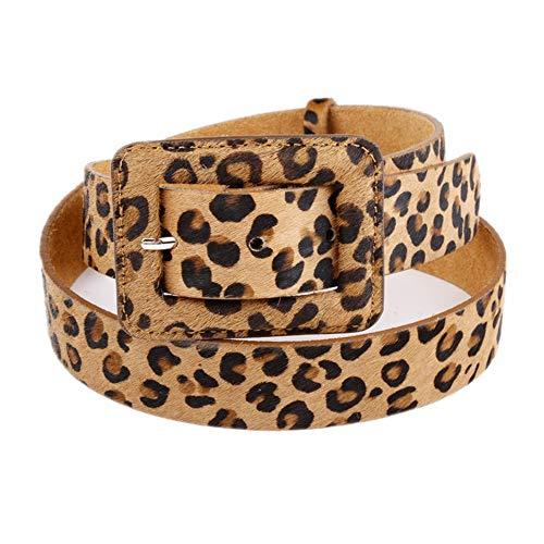 Sunbobo Cinturón de Mujer con Estampado de Leopardo de Mujer Cinturón de Cintura con Cintura para Pantalones Vaqueros y Vestido Talla única para Todos Cinturón Casual para Mujer