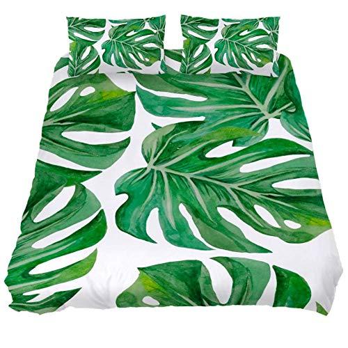 Eslifey Monstera Palmenblätter Weiches Bettwäsche-Set für Damen und Herren, 150 x 200 cm, 3-teilig, Mehrfarbig, Full 79 x 91 \19 x 29 in