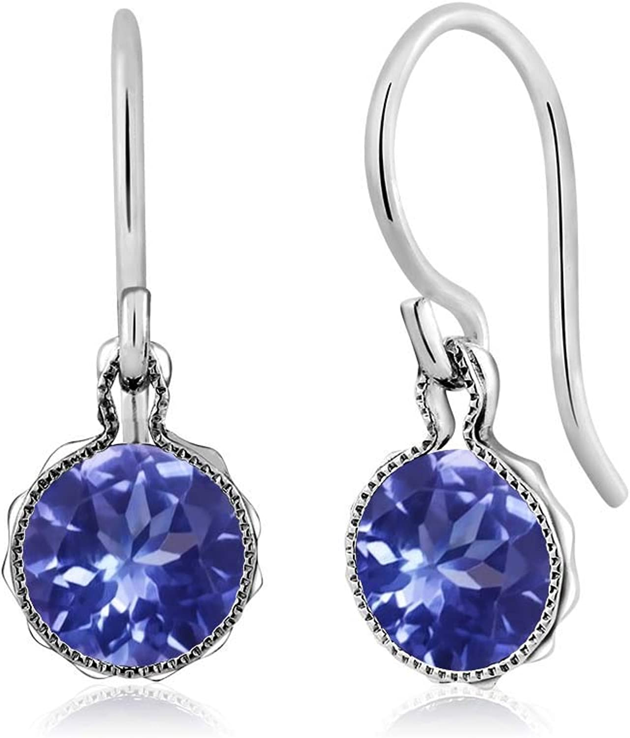 1.60 Ct Round bluee Tanzanite AAA 925 Sterling Silver Dangle Earrings 6mm