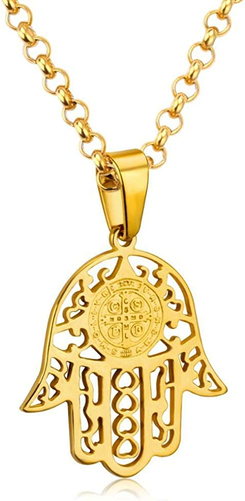 Hamsa Hand Pendant Necklace Women Men Gold Colar Stainless Steel Link Chain Pendant Necklaces Collares 60cm