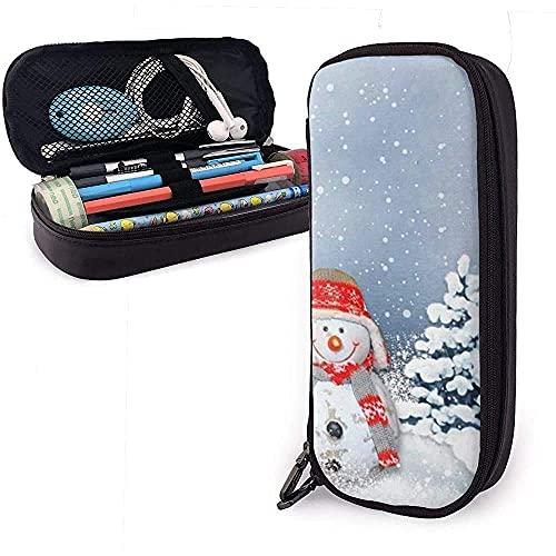 Estuche de lápices de piel de muñeco de nieve inquebrantable estuche de papelería bolsa de maquillaje bolsa de cosméticos bolsa de gran capacidad