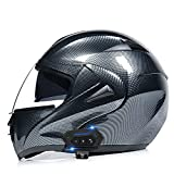 STZYY Motorcycle Flip-up Bluetooth Helmet Full Face Motorbike Helmet Dot/ECE Certification Motocross Scooter Integrated Crash Helmet with Double Sun Visor for Adult Men Women