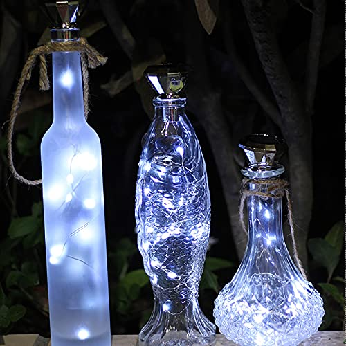 SNAWEN Paquete de 8 Luces solares de Corcho de Vino 2M 20 LED Lámpara de decoración de Fiesta de jardín de Guirnalda de Alambre de Cobre,8pcs White