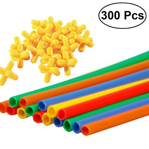 TOYMYTOY SET Cannucce per gioco costruzioni con connettori in plastica colorati 300PCS
