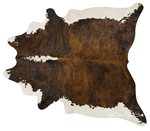ecowhides Brindle White Belly Brazilian Cowhide Area Rug, Cowskin Leather...