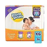 Fralda Pom Pom Protek Proteção de Mãe, XG, Mega, pacote de 36 - Embalagem Pode Variar