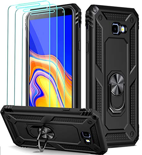 ivoler Funda para Samsung Galaxy J4+ 2018 / J4 Plus 2018 + [Cristal Vidrio Templado Protector de Pantalla *3], Anti-Choque Carcasa con 360 Grados Anillo iman Soporte, Hard Silicona TPU Caso - Negro