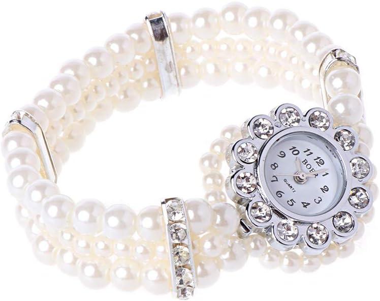 YOYOLWJ Women's White Cheap super special price Pearl String Free Shipping Cheap Bargain Gift Wrap Strap Crysta Watch Wrist