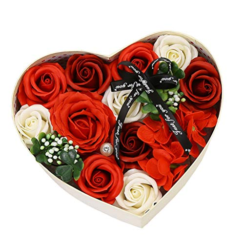 Diantai Rosen Duftseifen Handgefertigt Rose Blume Blumenbade Seife Pflanze Rose Seife Geschenkbox Jubiläum Geburtstag Hochzeit