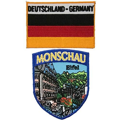 A-ONE Aufnäher, Deutschland, Monschau, Stadtreise, zum Aufnähen, mit Deutschland-Flagge, Heißsiegel, 2 Stück