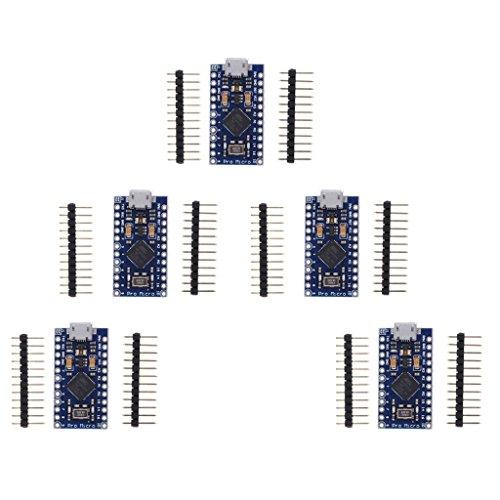 Gazechimp 5 Stücke Pro Micro ATmega 32U4 5 V 16 MHz Modul Microcontroller Board Mit
