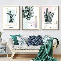北欧の装飾緑の植物の壁アートキャンバス絵画現代のミニマリストの葉のポスターとプリント装飾的な写真リビングルーム40x60cmx3フレームなし
