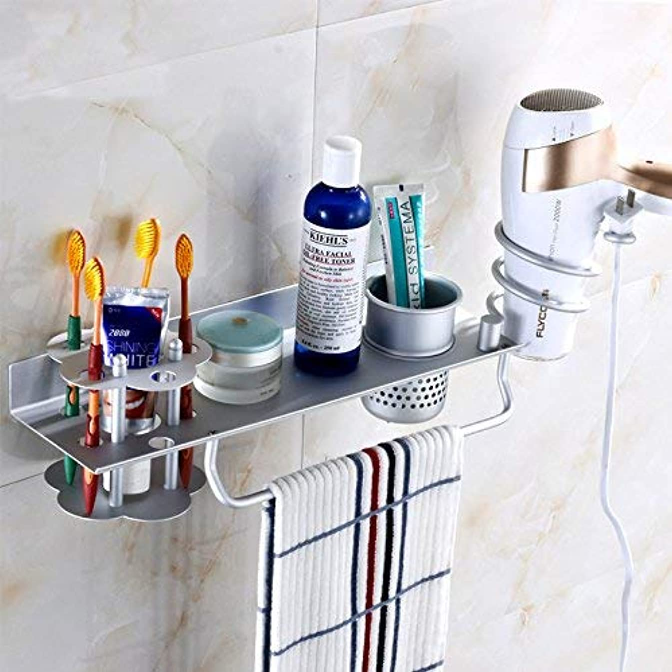言及する微生物告発者収納ラック棚 浴室用シェルフウォールマウントバスルームヘアドライヤーブラケット歯ブラシホルダートイレ収納ラック多機能フリーパンチ 家のホテルの装飾のため