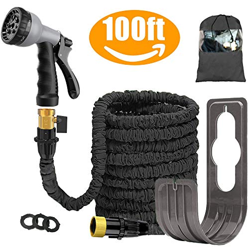 100 FT Expandable Garden Water Hose Pipe/Magic Expanding Flexible Hose with Brass Fittings Valve 8 Function Spray Gun Nozzle Wall Holder/Storage Bag