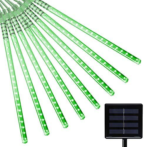 Berocia Solar LED Meteor Shower Rain Lights 30cm 10 Spiral Tubes 360 LED Solar Falling String Lights Outdoor Garden Waterproof Decorative Fairy Lights Cascading Lighting for Yard Tree Party (Green)