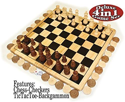 Deluxe 4-in-1 Chess, Checkers, Tic Tac Toe & Backgammon Wooden Game Set by Homeware