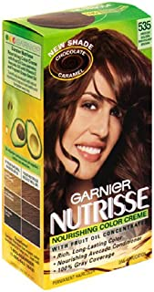 Garnier Nutrisse Nourishing Color Creme with Fruit Oil Concentrate, Permanent, Medium Golden Mahogany Brown 535 (Pack of 3)