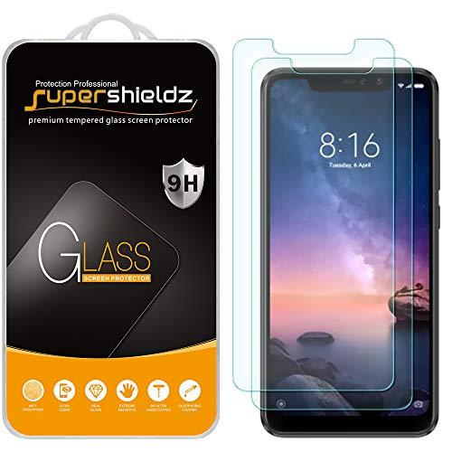 Supershieldz - Protector de visualización de vidrio templado para Xiaomi Redmi Note 6 Pro, antiarañazos, sin burbujas