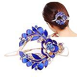 Possec Mode Pinces à cheveux Alliage Cristal Barrettes capillaires pour Femmes Bleu