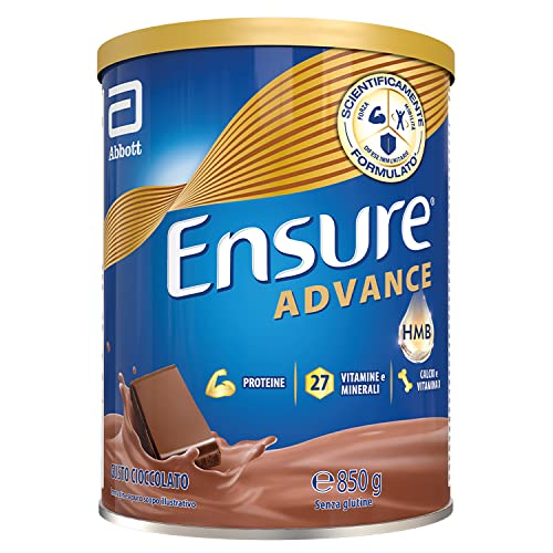 Ensure Advance Formula Nutrivigor Integratore in Polvere, Multivitaminico con 27 Vitamine e Minerali, Integratore Alimentare con Proteine, Calcio e Hmb, Confezione 850g, Gusto Cioccolato